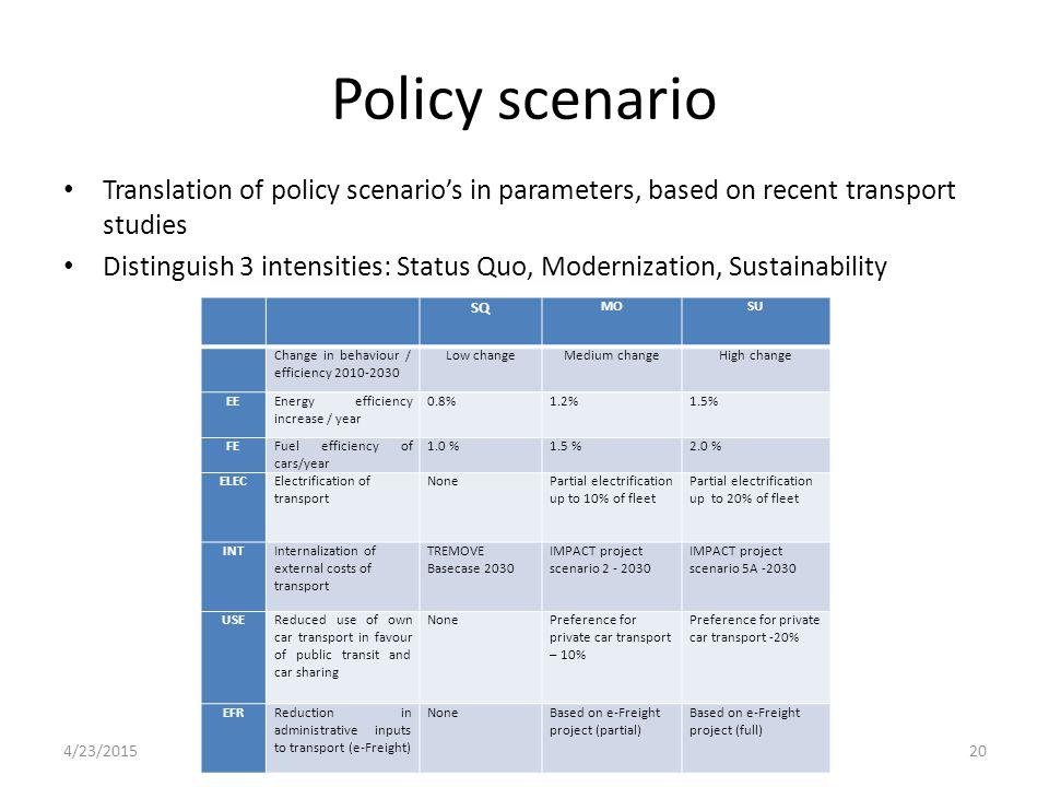 Policy scenario Translation of policy scenario's in parameters, based on recent transport studies Distinguish 3 intensities: Status Quo, Modernization