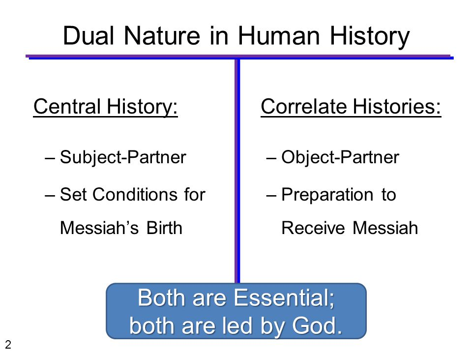 Central History: –Subject-Partner –Set Conditions for Messiah's Birth Correlate Histories: –Object-Partner –Preparation to Receive Messiah Dual Nature in Human History 2 Both are Essential; both are led by God.