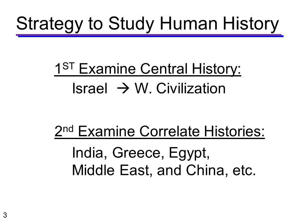 Strategy to Study Human History Israel  W.