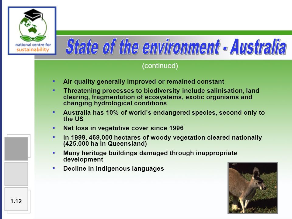  Air quality generally improved or remained constant  Threatening processes to biodiversity include salinisation, land clearing, fragmentation of ecosystems, exotic organisms and changing hydrological conditions  Australia has 10% of world's endangered species, second only to the US  Net loss in vegetative cover since 1996  In 1999, 469,000 hectares of woody vegetation cleared nationally (425,000 ha in Queensland)  Many heritage buildings damaged through inappropriate development  Decline in Indigenous languages (continued) 1.12