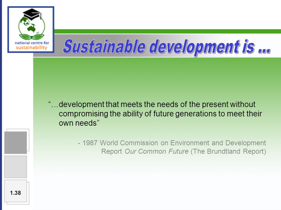 …development that meets the needs of the present without compromising the ability of future generations to meet their own needs - 1987 World Commission on Environment and Development Report Our Common Future (The Brundtland Report) 1.38