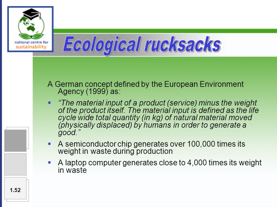 A German concept defined by the European Environment Agency (1999) as:  The material input of a product (service) minus the weight of the product itself.