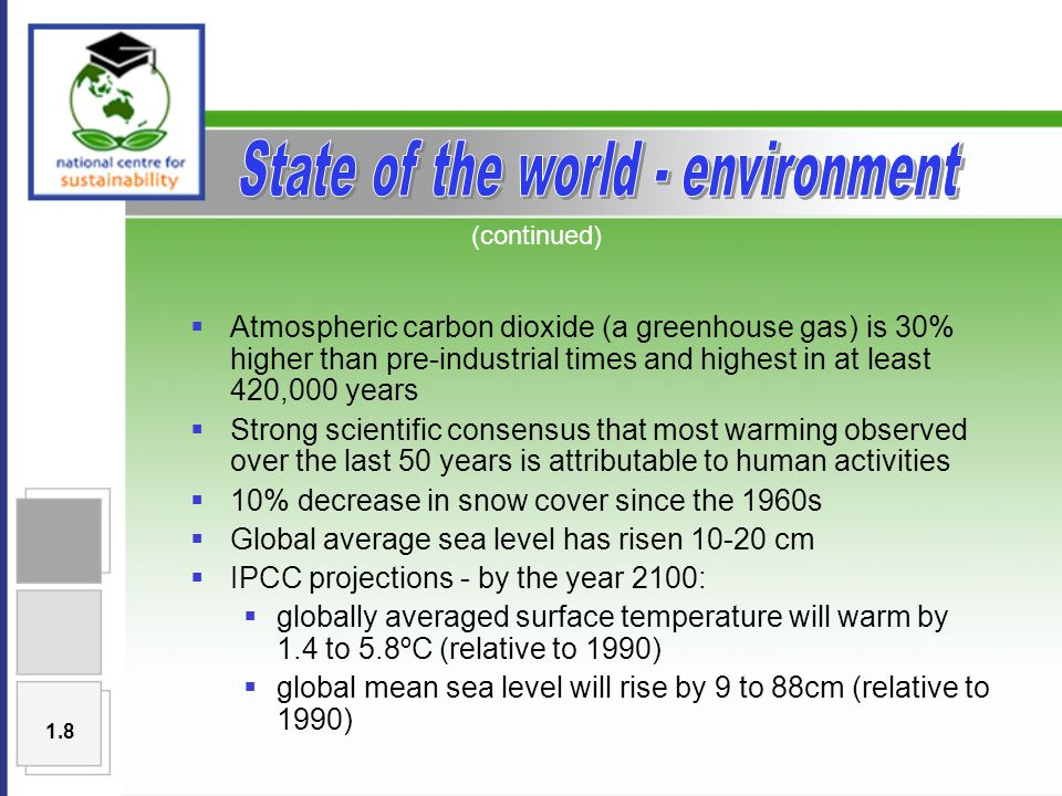  Atmospheric carbon dioxide (a greenhouse gas) is 30% higher than pre-industrial times and highest in at least 420,000 years  Strong scientific consensus that most warming observed over the last 50 years is attributable to human activities  10% decrease in snow cover since the 1960s  Global average sea level has risen 10-20 cm  IPCC projections - by the year 2100:  globally averaged surface temperature will warm by 1.4 to 5.8ºC (relative to 1990)  global mean sea level will rise by 9 to 88cm (relative to 1990) (continued) 1.8