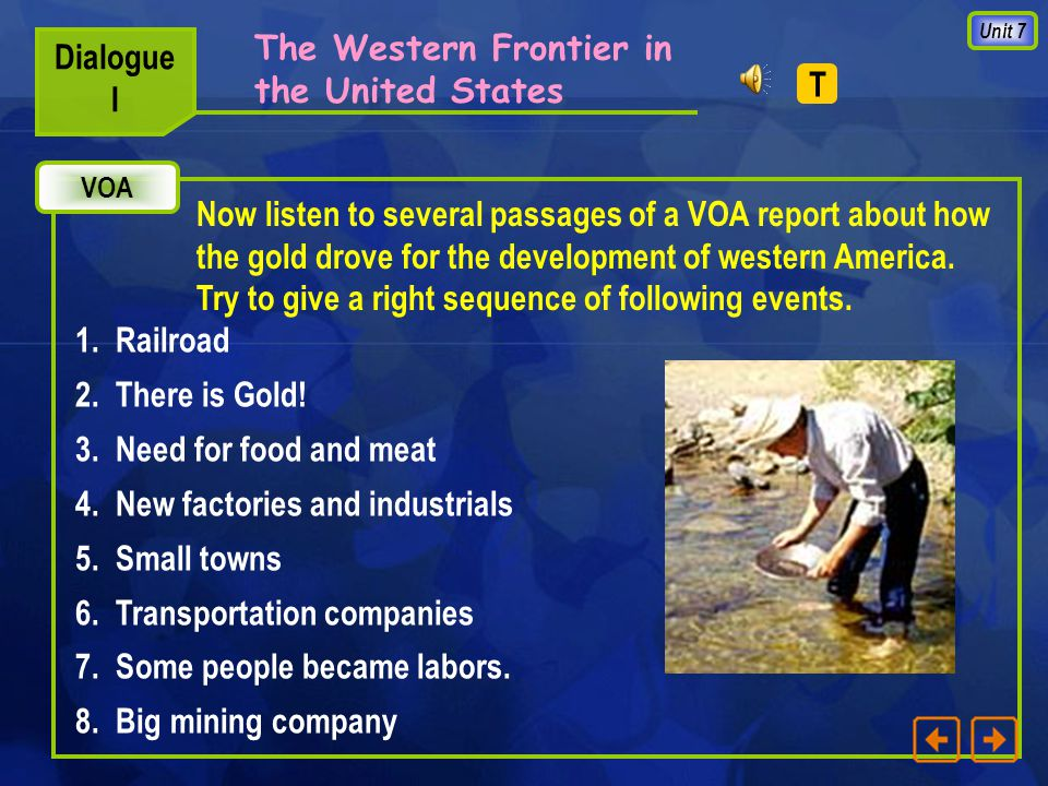 Unit 7 The Western Frontier in the United States Dialogue I Pictures