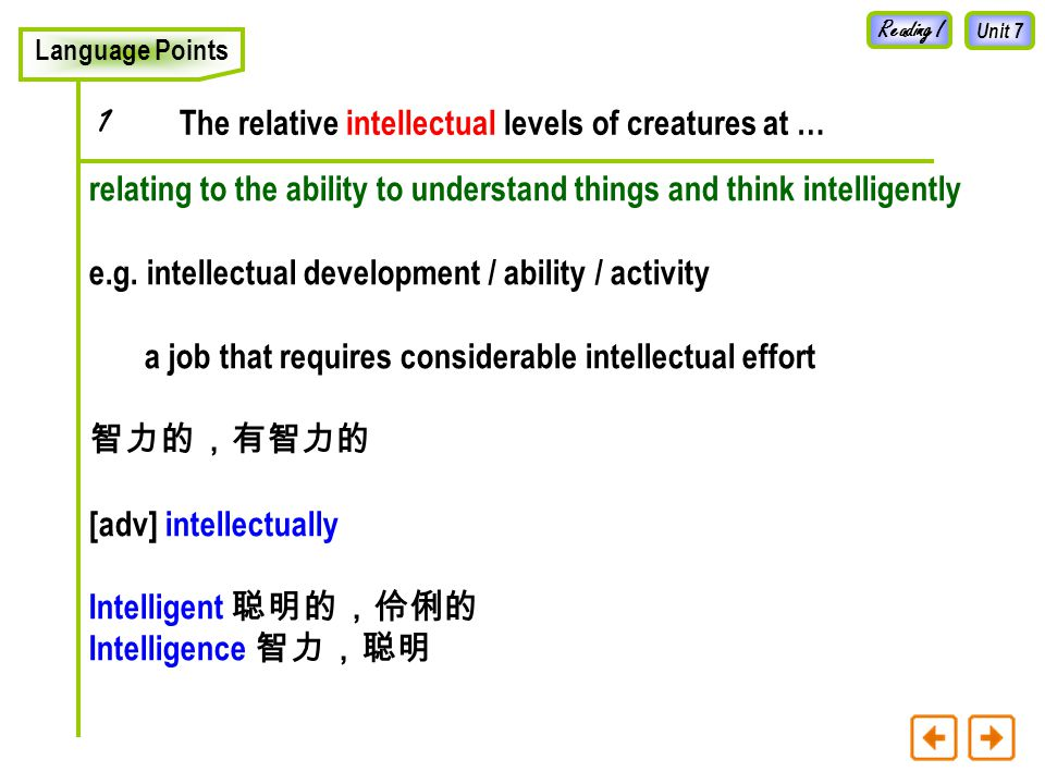 Unit 7 Intelligence in Animals Reading I 1.What is the commonest way used to learn about the stages of intelligence in animals.
