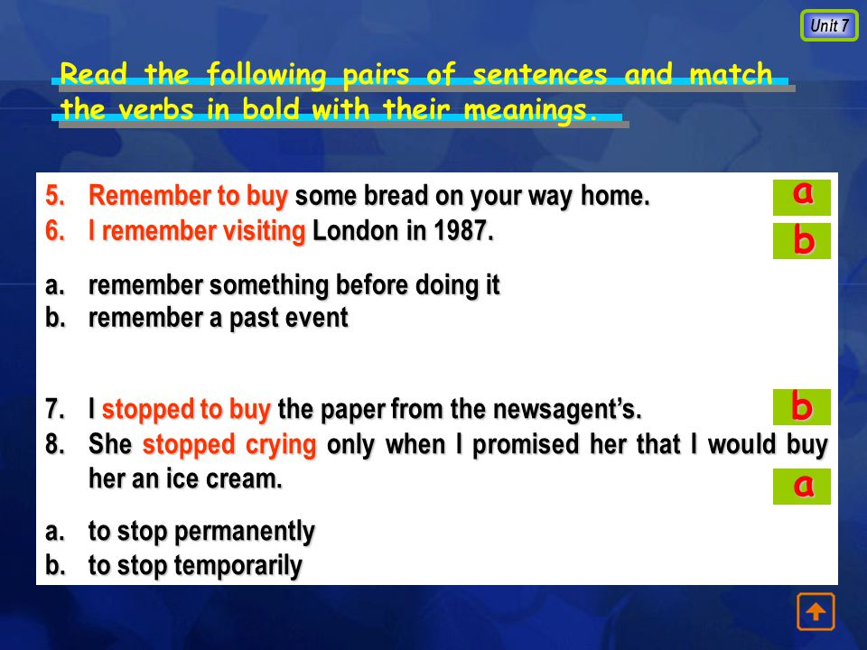 Unit 7 Read the following pairs of sentences and match the verbs in bold with their meanings.