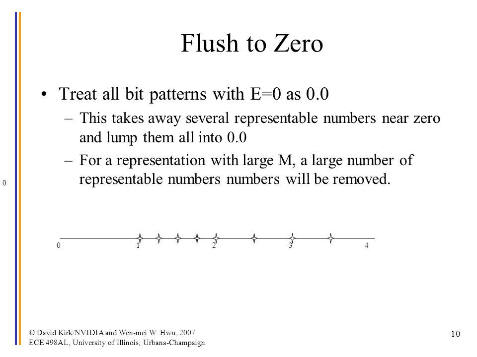© David Kirk/NVIDIA and Wen-mei W. Hwu, 2007 ECE 498AL, University of Illinois, Urbana-Champaign 10 Flush to Zero Treat all bit patterns with E=0 as 0