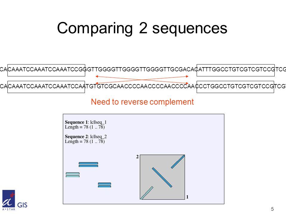 5 Comparing 2 sequences GGCACAAATCCAAATCCAAATCCGGGTTGGGGTTGGGGTTGGGGTTGCGACACATTTGGCCTGTCGTCGTCCGTCGTC GGCACAAATCCAAATCCAAATCCAATGTGTCGCAACCCCAACCCCAACCCCAACCCTGGCCTGTCGTCGTCCGTCGTC Need to reverse complement