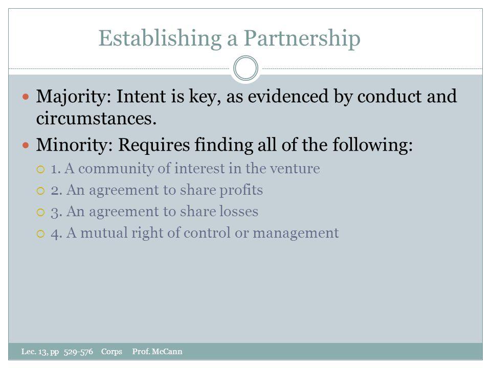 Establishing a Partnership Lec. 13, pp 529-576 Corps Prof.