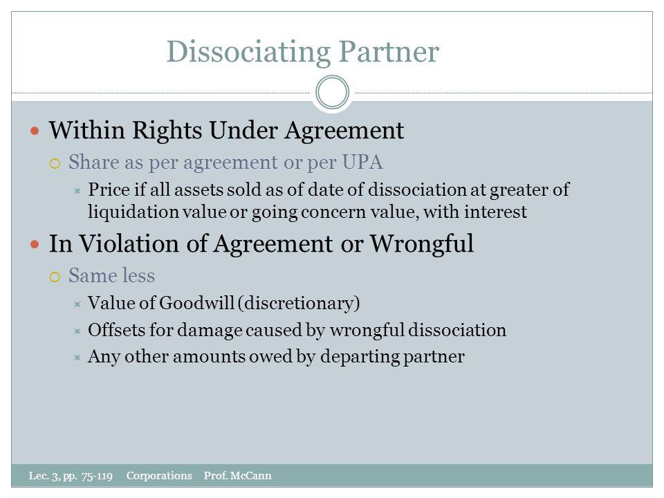 Dissociating Partner Lec. 3, pp. 75-119 Corporations Prof.