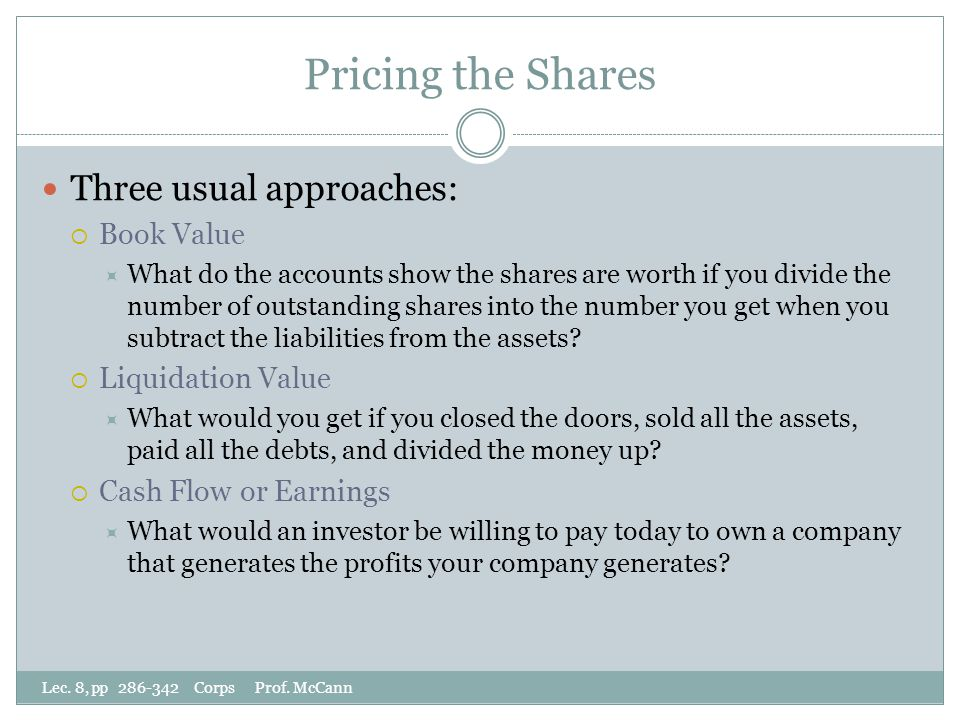 Pricing the Shares Lec. 8, pp 286-342 Corps Prof.