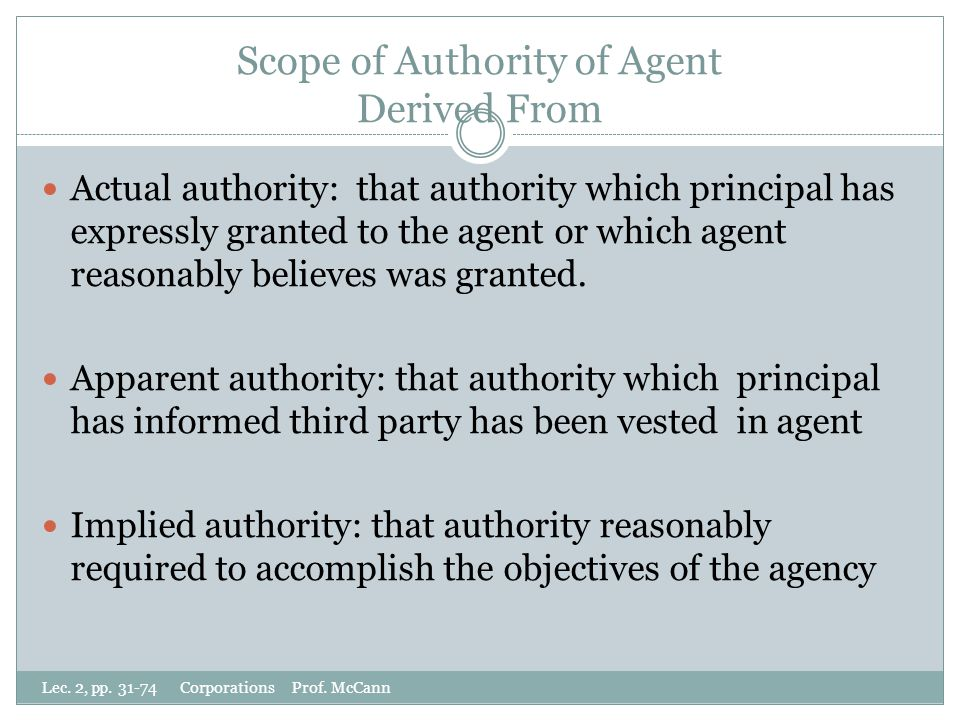 Scope of Authority of Agent Derived From Actual authority: that authority which principal has expressly granted to the agent or which agent reasonably believes was granted.