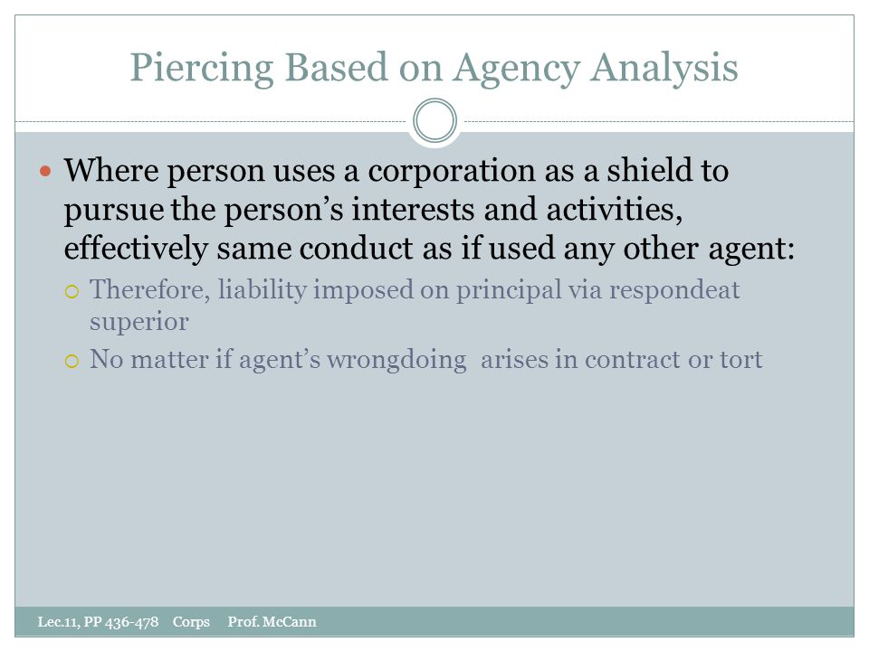Piercing Based on Agency Analysis Lec.11, PP 436-478 Corps Prof.
