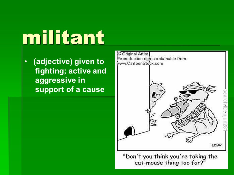 militant (adjective) given to fighting; active and aggressive in support of a cause