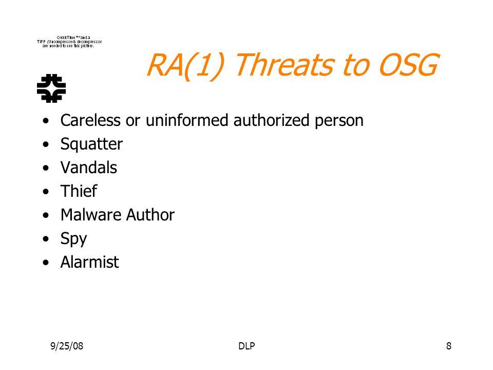 9/25/08DLP8 RA(1) Threats to OSG Careless or uninformed authorized person Squatter Vandals Thief Malware Author Spy Alarmist