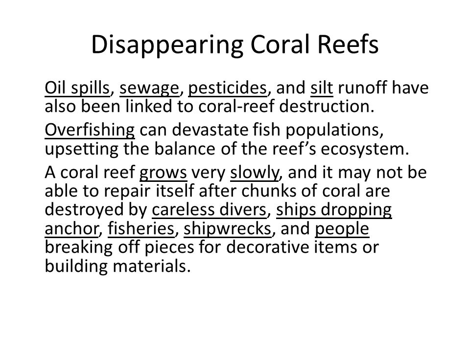 Disappearing Coral Reefs Oil spills, sewage, pesticides, and silt runoff have also been linked to coral-reef destruction.
