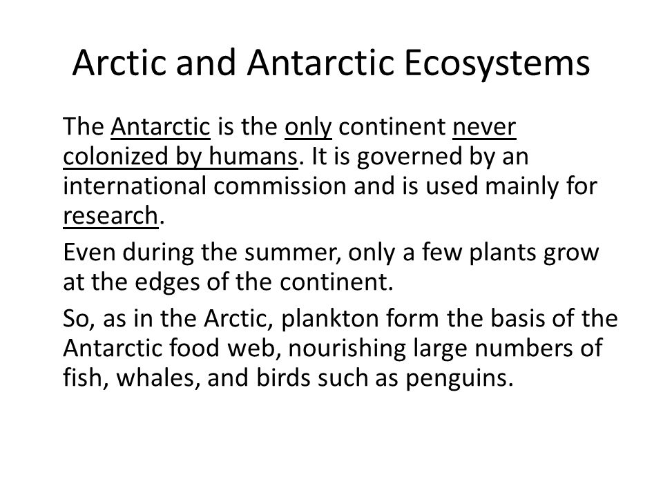 Arctic and Antarctic Ecosystems The Antarctic is the only continent never colonized by humans.
