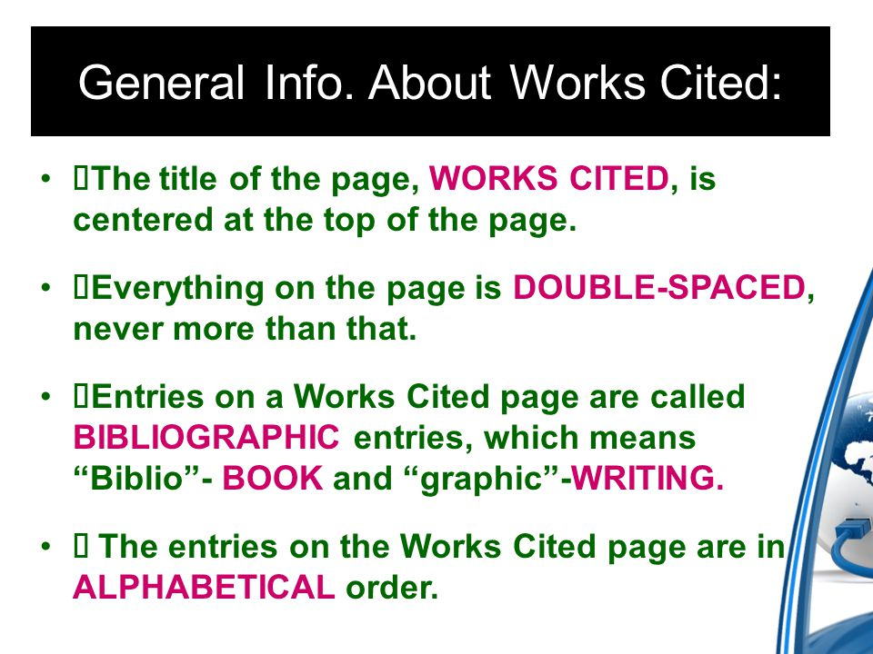 The title of the page, WORKS CITED, is centered at the top of the page.