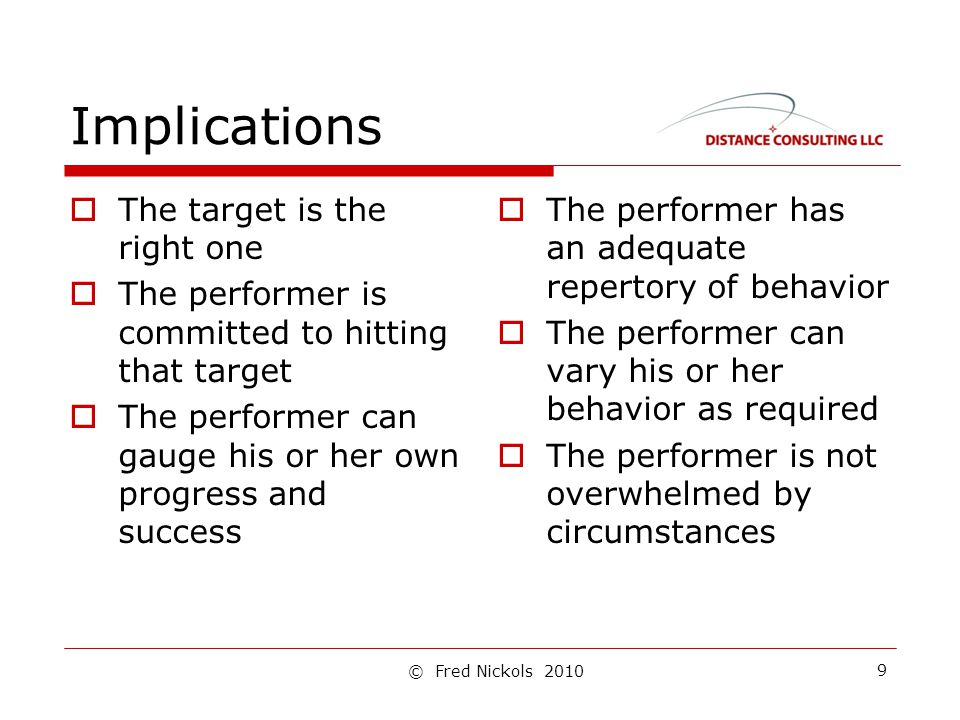 Implications  The target is the right one  The performer is committed to hitting that target  The performer can gauge his or her own progress and success  The performer has an adequate repertory of behavior  The performer can vary his or her behavior as required  The performer is not overwhelmed by circumstances 9 © Fred Nickols 2010
