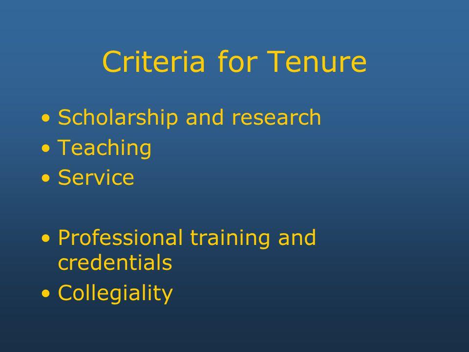 The Tenure Process