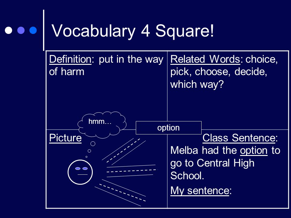 Vocabulary 4 Square! Definition: put in the way of harm Related Words: choice, pick, choose, decide, which way? Picture Class Sentence: Melba had the