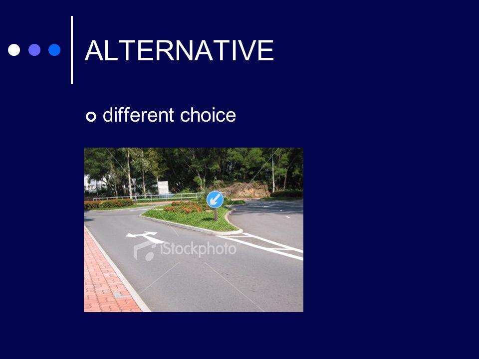 ALTERNATIVE different choice