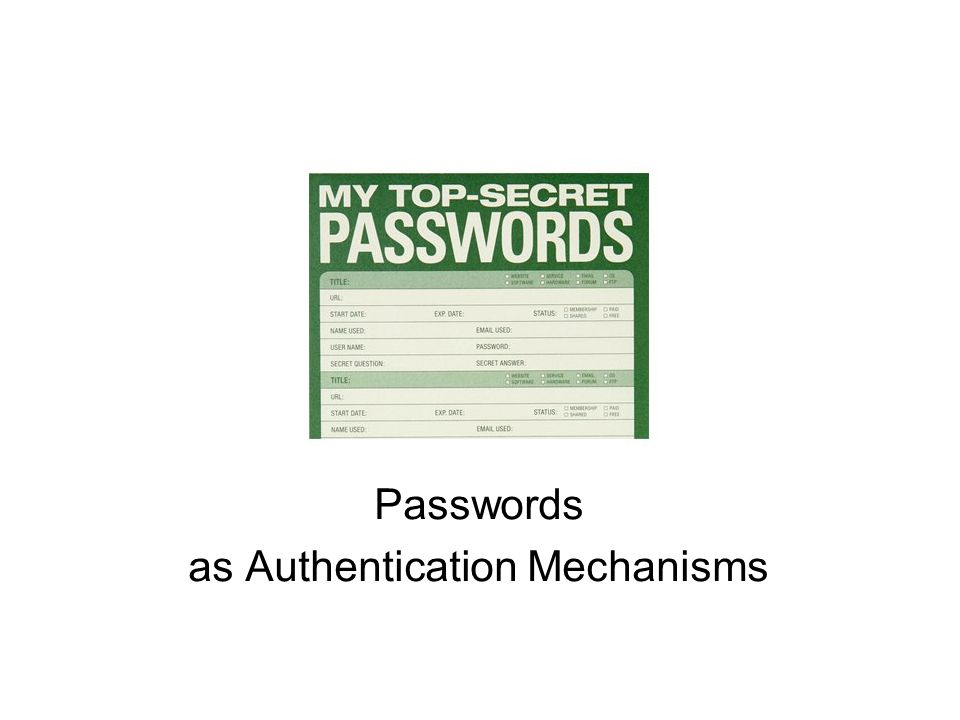 Passwords as Authentication Mechanisms