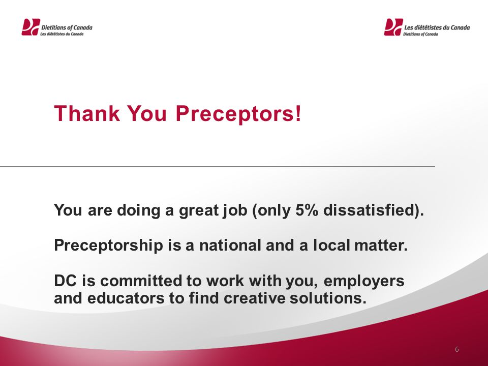 You are doing a great job (only 5% dissatisfied). Preceptorship is a national and a local matter. DC is committed to work with you, employers and educ