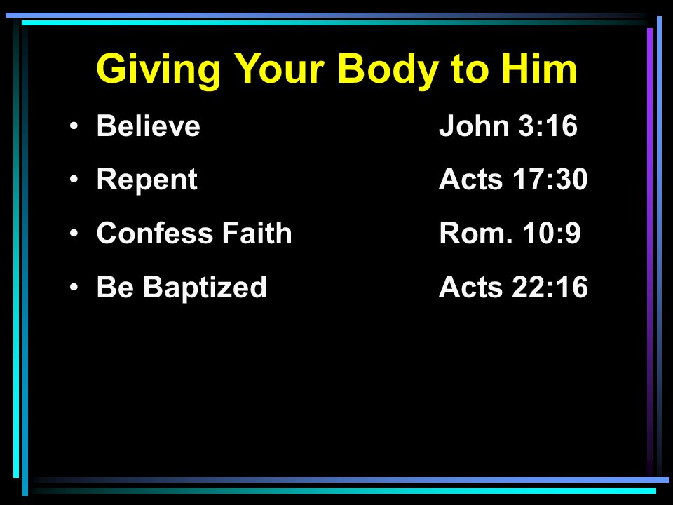 Giving Your Body to Him Believe John 3:16 RepentActs 17:30 Confess FaithRom. 10:9 Be BaptizedActs 22:16