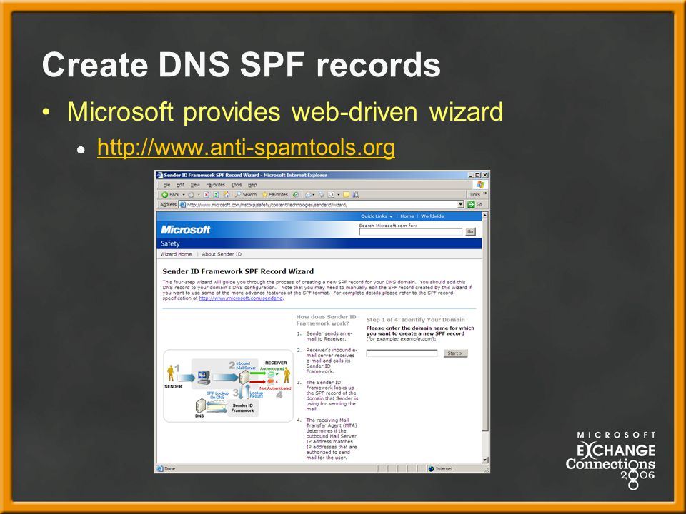 Create DNS SPF records Microsoft provides web-driven wizard ● http://www.anti-spamtools.org http://www.anti-spamtools.org