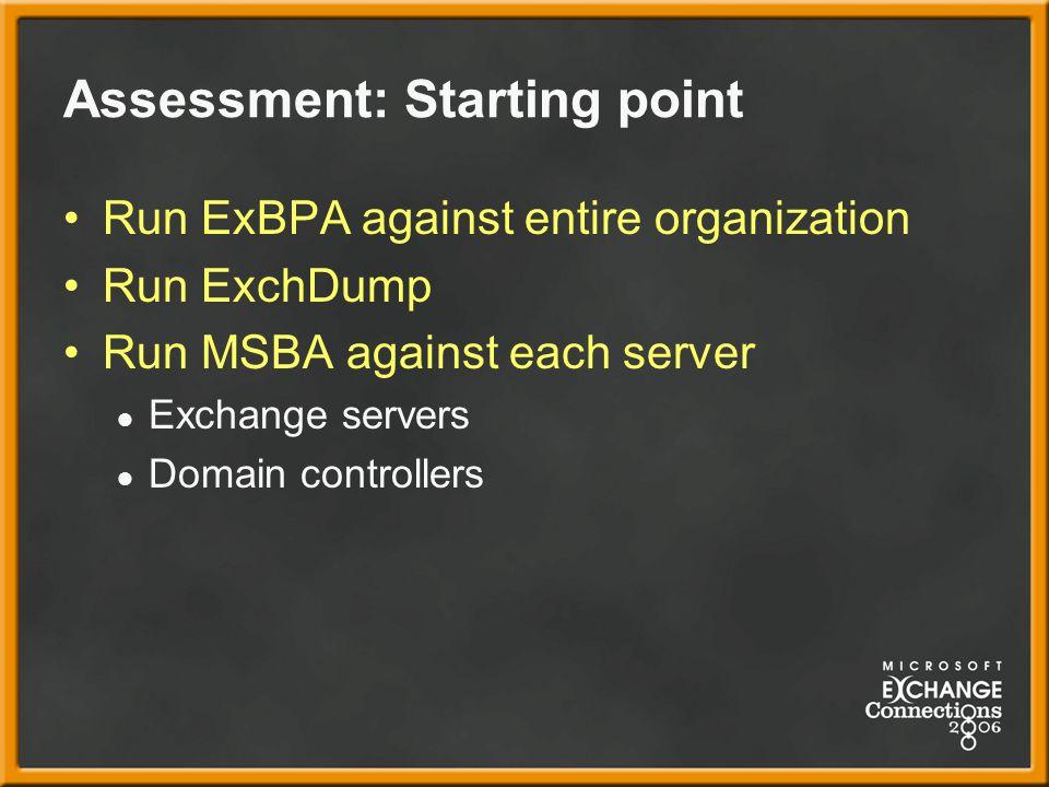 Assessment: Starting point Run ExBPA against entire organization Run ExchDump Run MSBA against each server ● Exchange servers ● Domain controllers