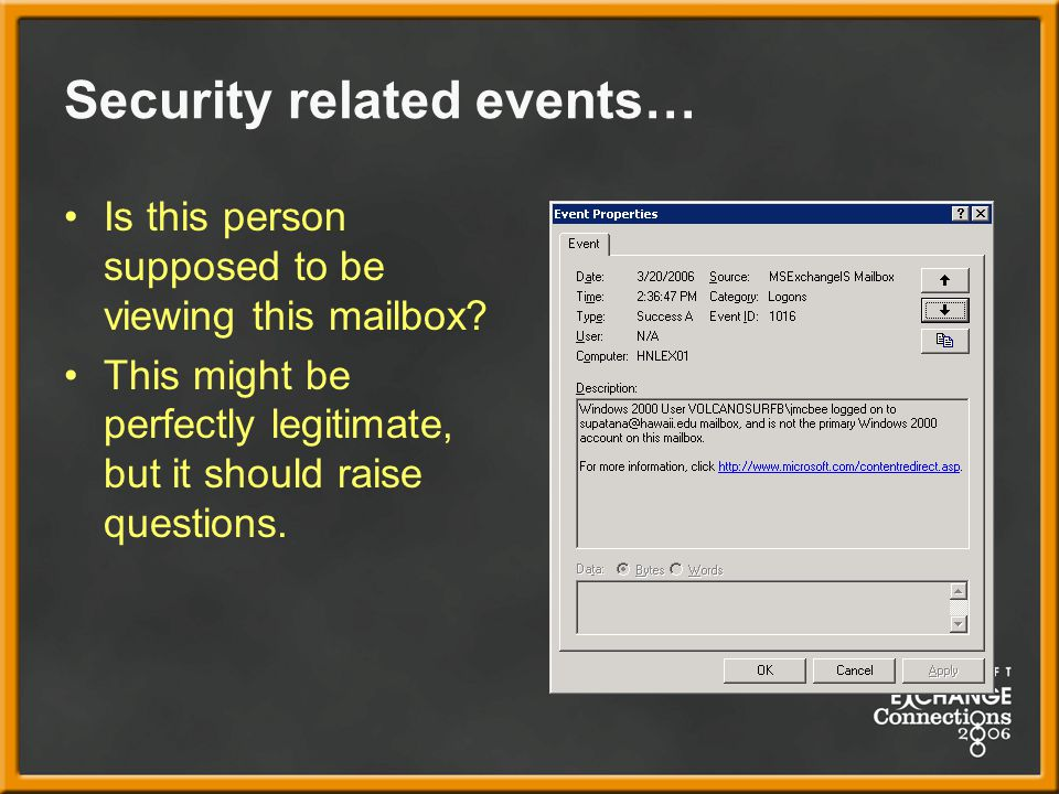 Security related events… Is this person supposed to be viewing this mailbox.