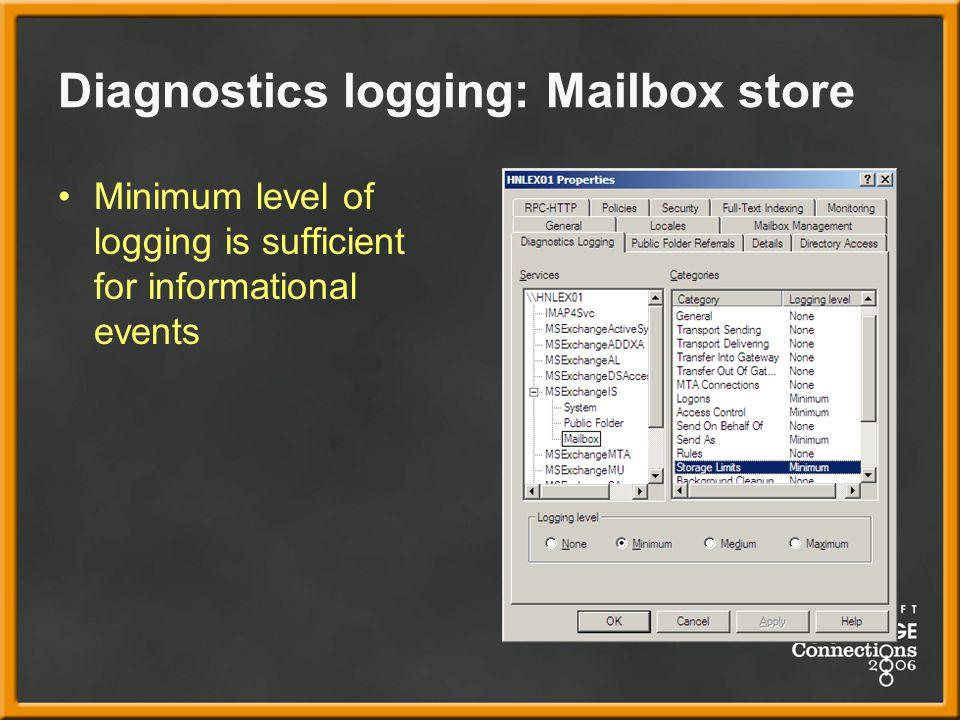 Diagnostics logging: Mailbox store Minimum level of logging is sufficient for informational events