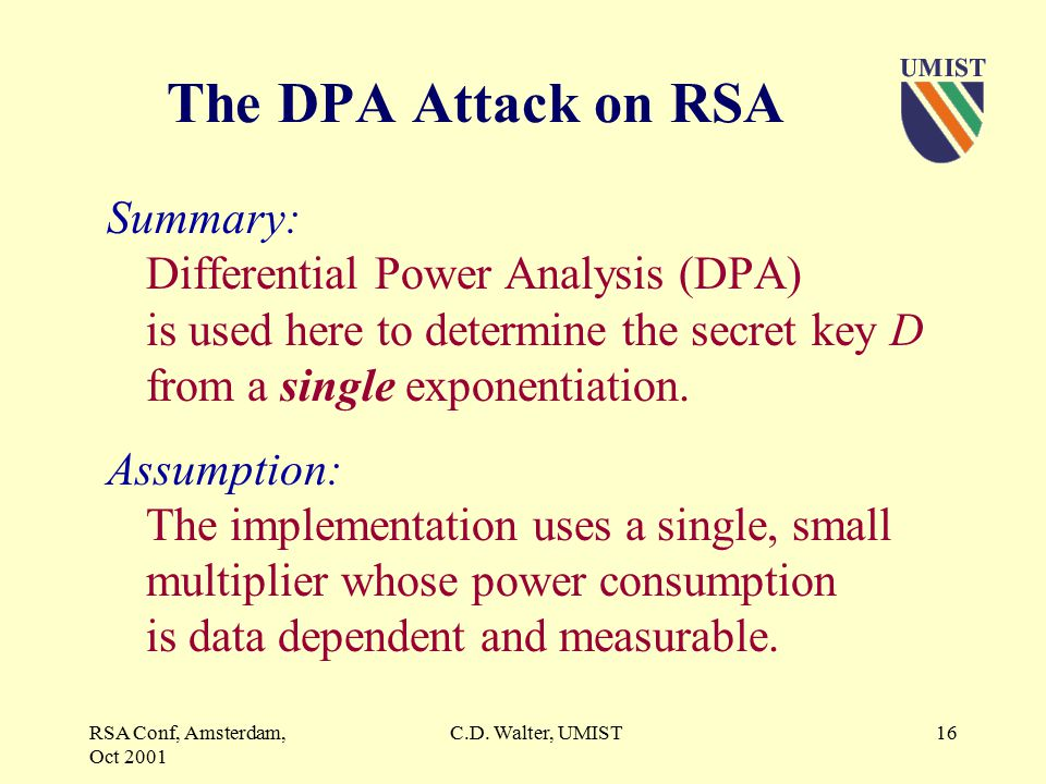 RSA Conf, Amsterdam, Oct 2001 C.D. Walter, UMIST15 Longer Keys.