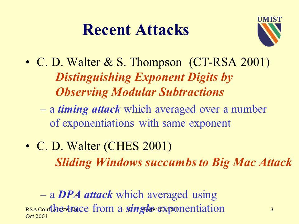 RSA Conf, Amsterdam, Oct 2001 C.D.Walter, UMIST3 Recent Attacks C.