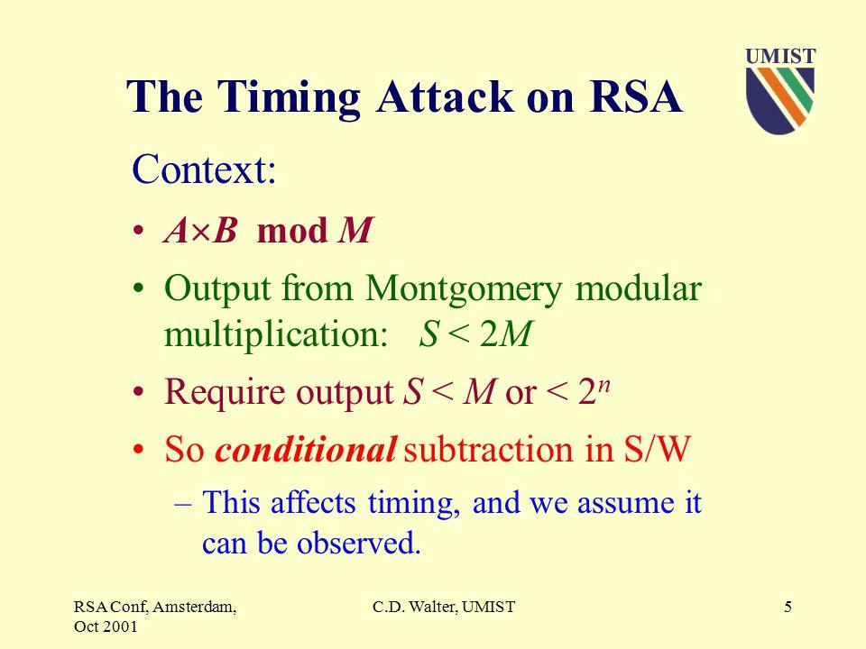 RSA Conf, Amsterdam, Oct 2001 C.D.Walter, UMIST15 Longer Keys.