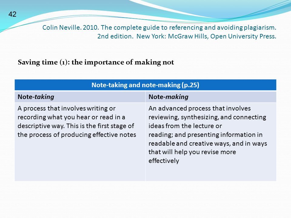 Colin Neville. 2010. The complete guide to referencing and avoiding plagiarism. 2nd edition. New York: McGraw Hills, Open University Press. Note-takin
