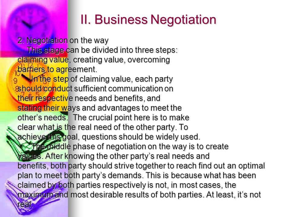 II. Business Negotiation 2.