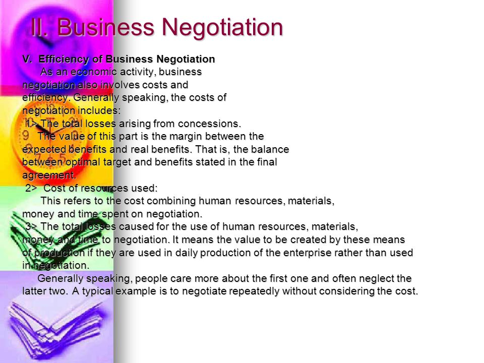 II. Business Negotiation V.