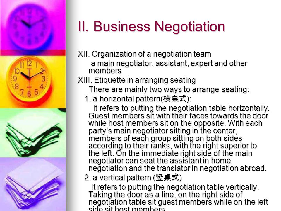 II. Business Negotiation XII.