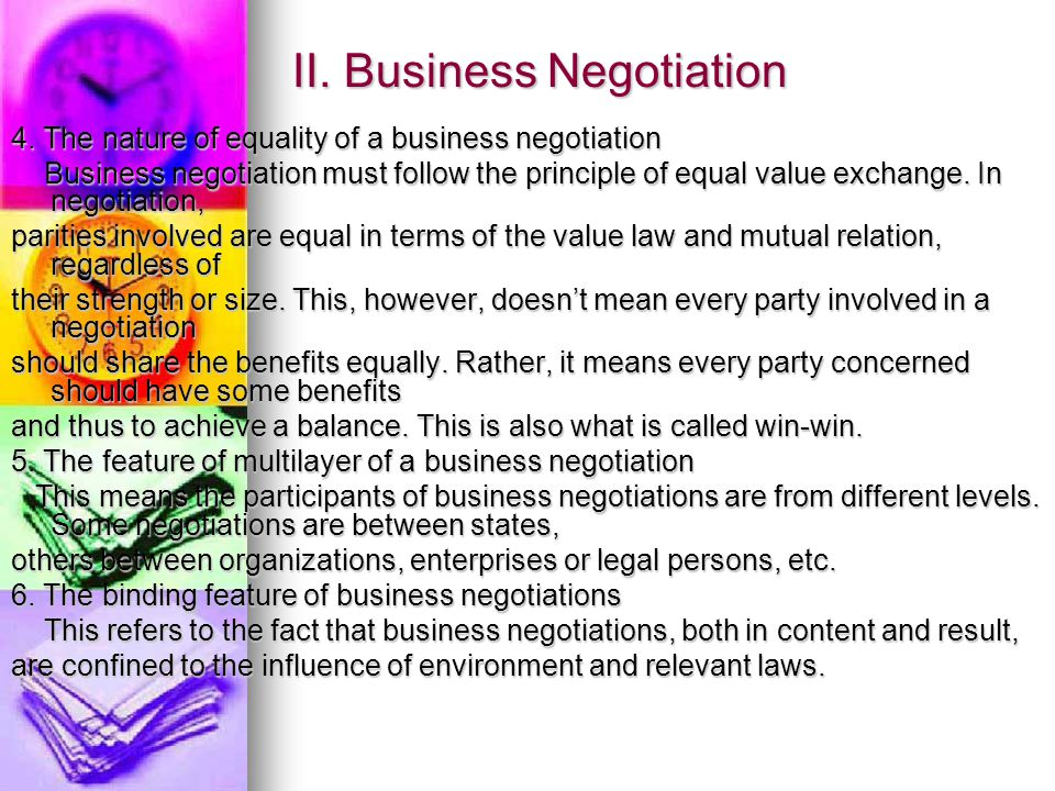 II. Business Negotiation 4.