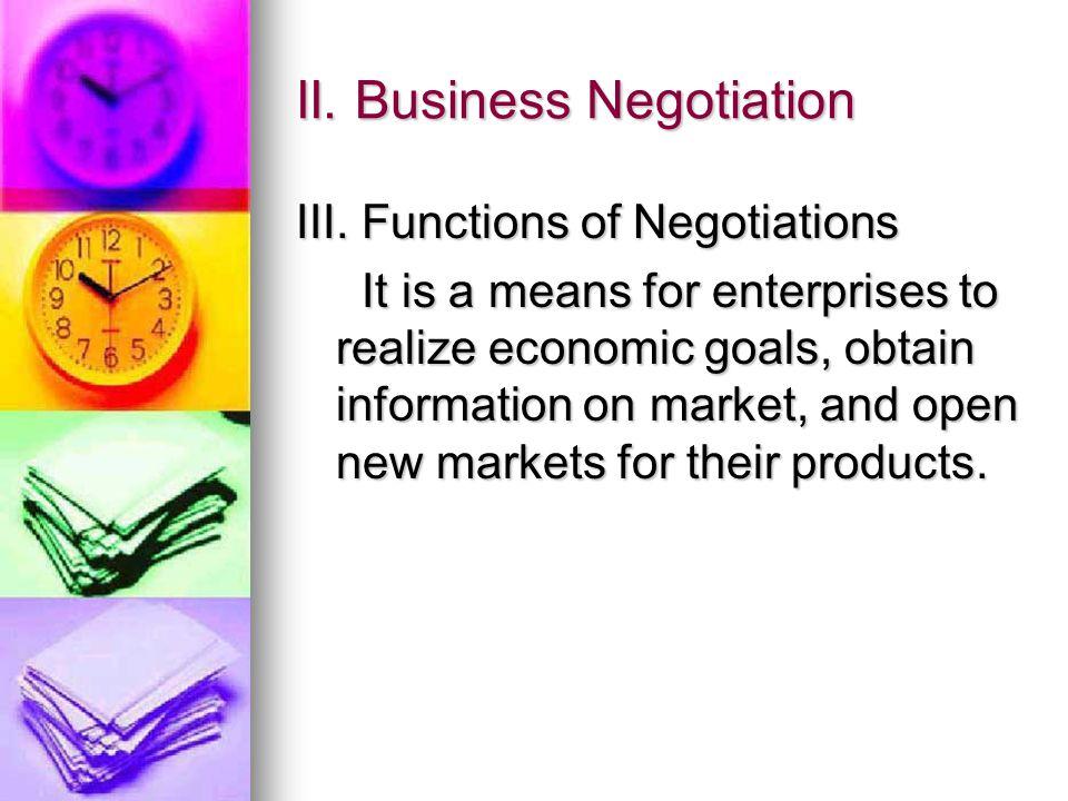 II. Business Negotiation III.