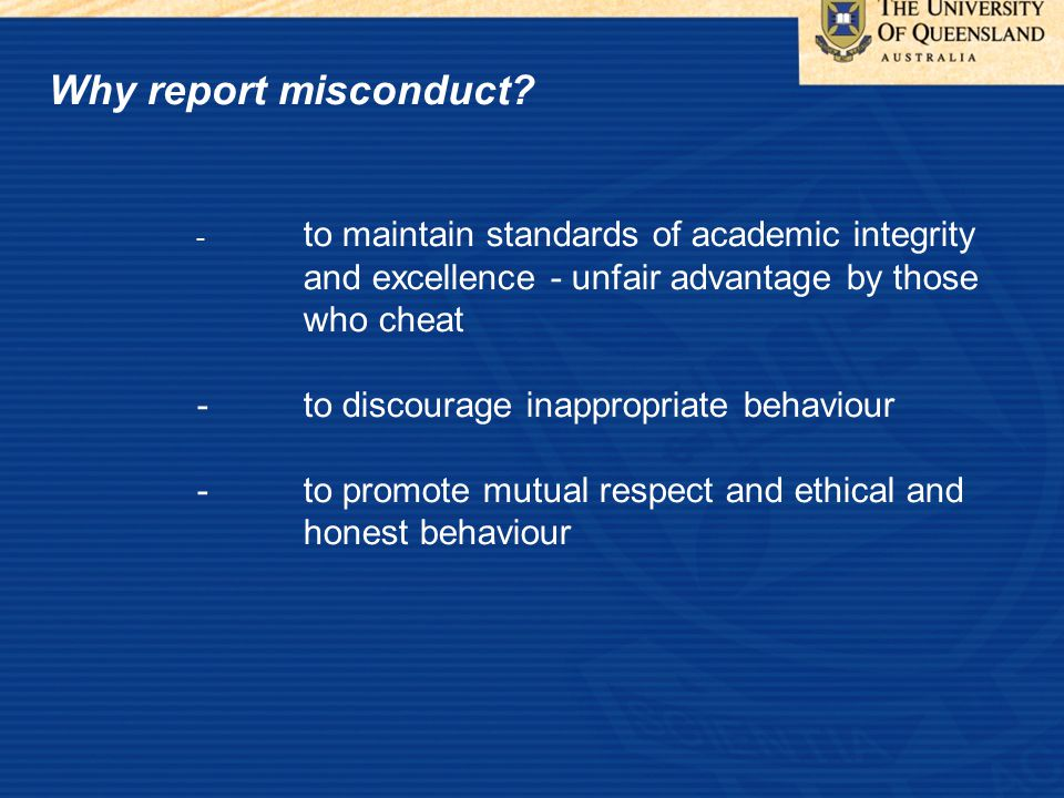 Why report misconduct.