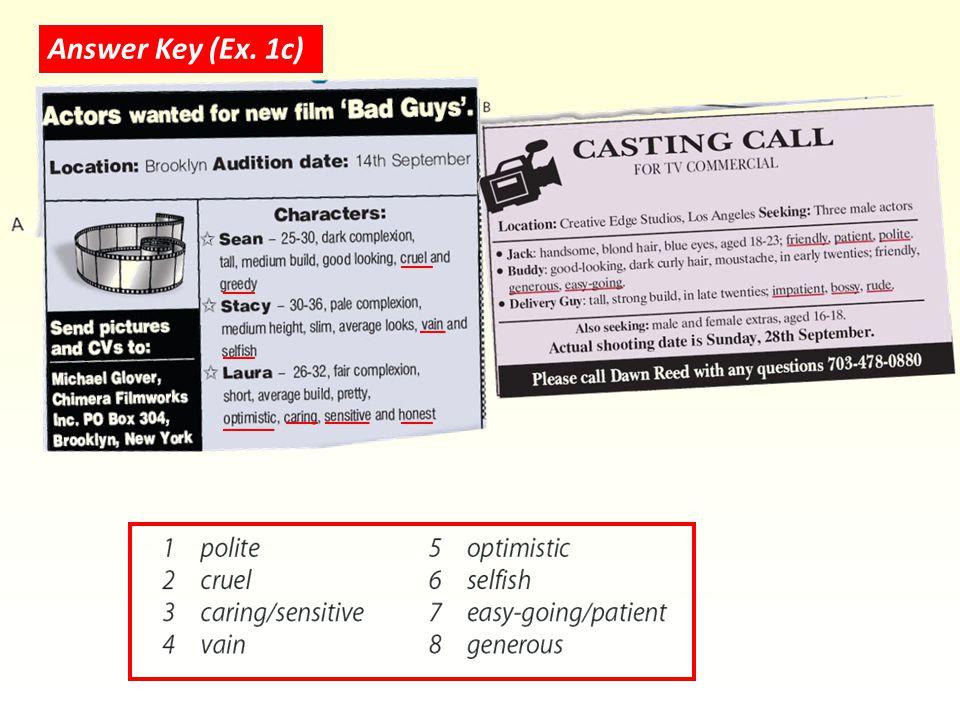 Answer Key (Ex. 1c)