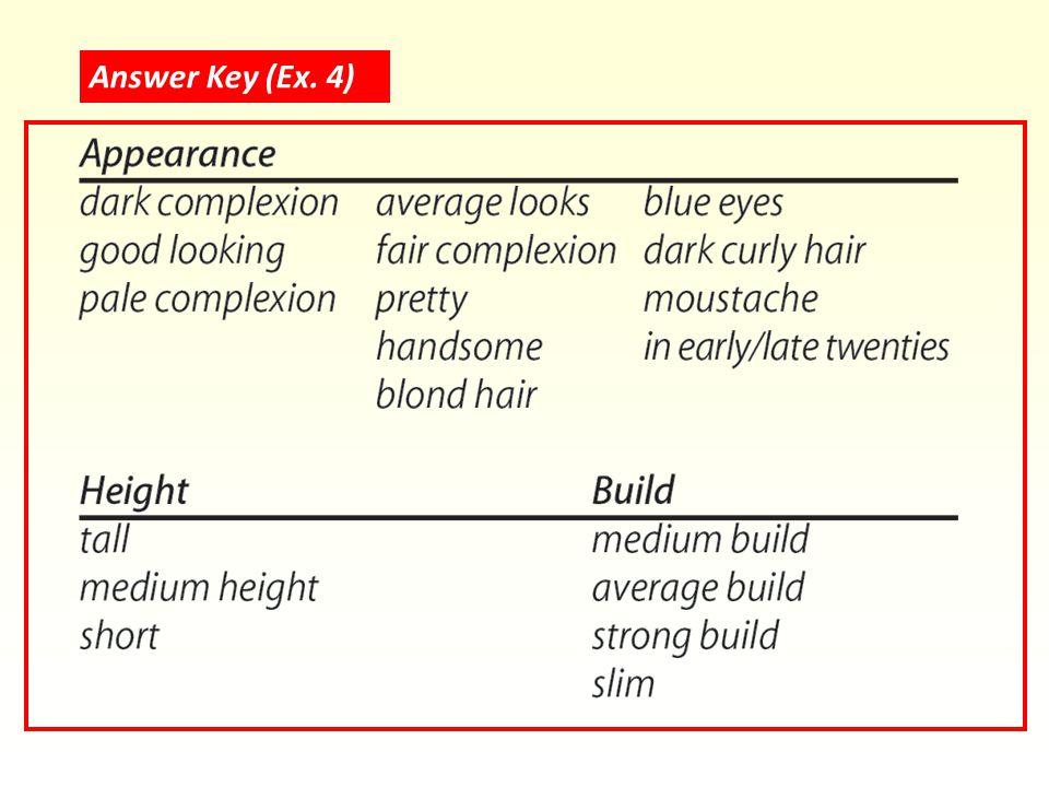 Answer Key (Ex. 4)
