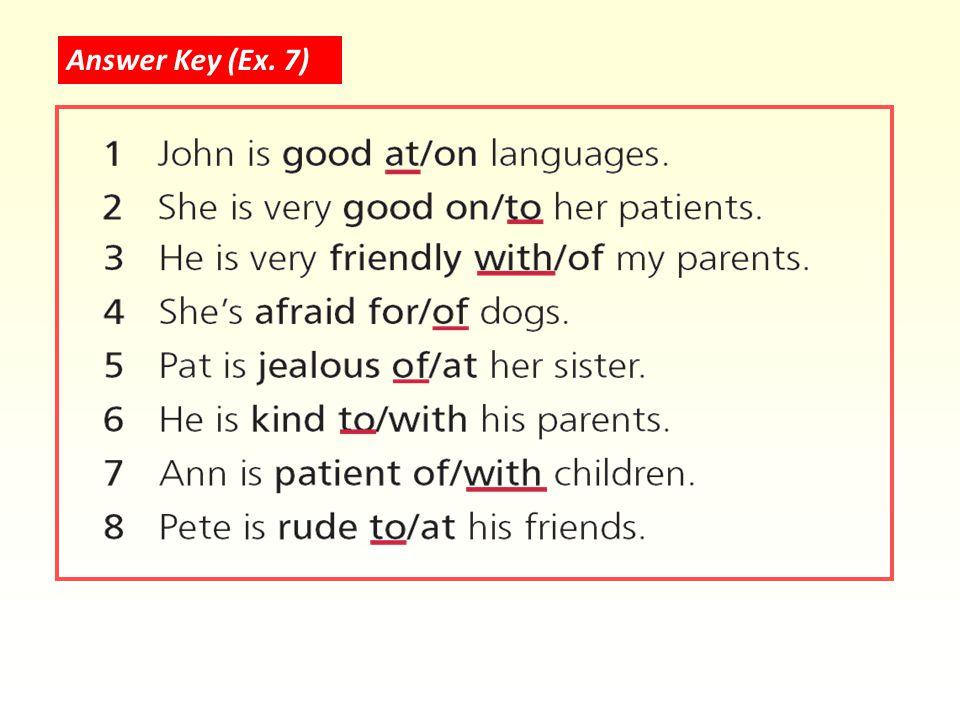 Answer Key (Ex. 7)