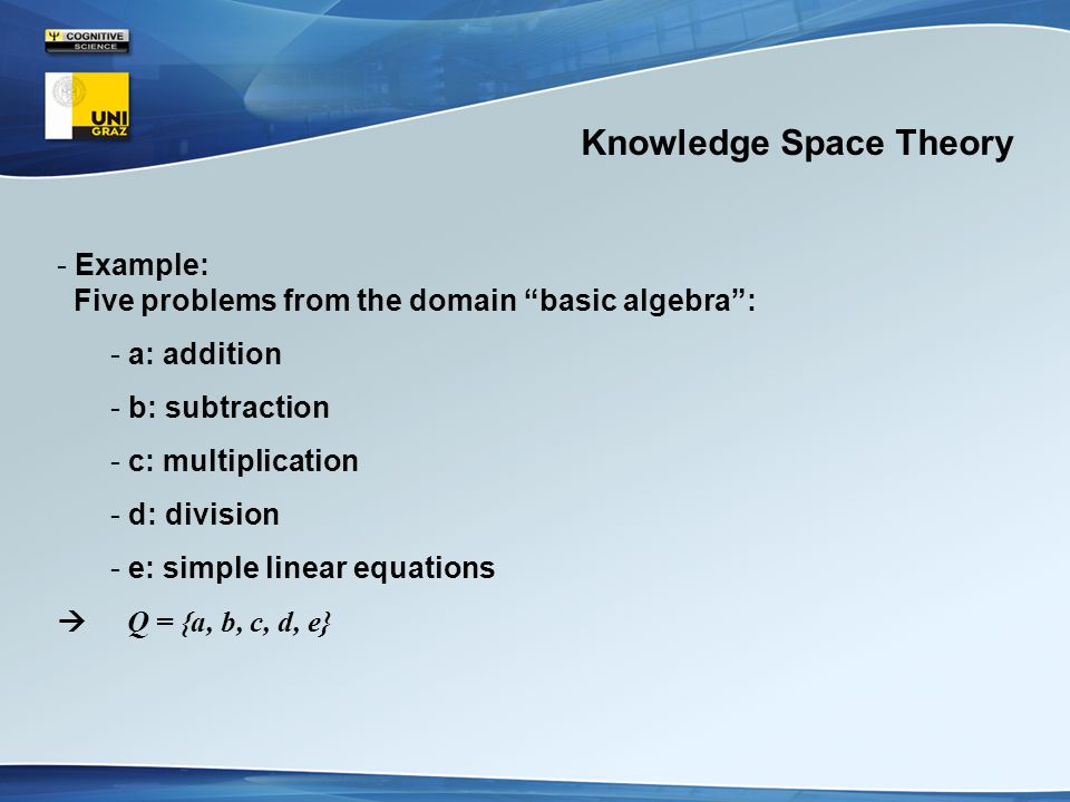 Knowledge Space Theory - Example: Five problems from the domain basic algebra : - a: addition - b: subtraction - c: multiplication - d: division - e: simple linear equations  Q = {a, b, c, d, e}