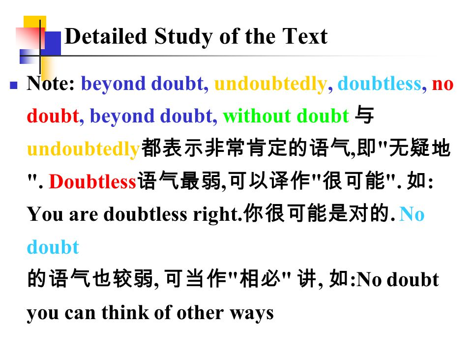 Note: beyond doubt, undoubtedly, doubtless, no doubt, beyond doubt, without doubt 与 undoubtedly 都表示非常肯定的语气, 即 无疑地 .