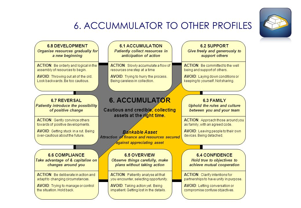 6. ACCUMMULATOR TO OTHER PROFILES 6.1 ACCUMULATION Patiently collect resources in anticipation of action ACTION: Slowly accumulate a flow of resources