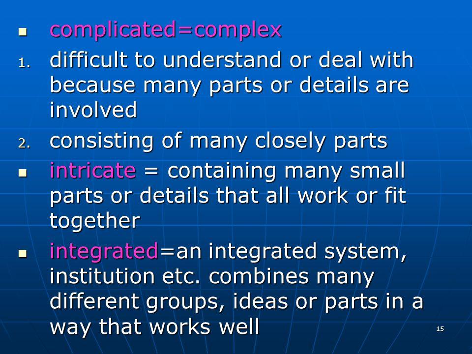 15 complicated=complex complicated=complex 1.